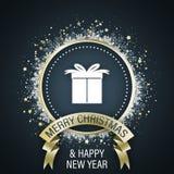 Carte de voeux de Joyeux Noël et de bonne année avec le boîte-cadeau blanc dans le ruban moyen et d'or, cercle décoratif avec des illustration libre de droits