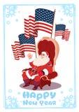 Carte de voeux de Joyeux Noël et de bonne année avec le concept de bannière de vacances d'hiver de Santa Claus Sitting Hold Usa F Photos stock