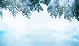 Carte de voeux de Joyeux Noël et de bonne année avec le copie-espace Fond de l'hiver photos stock