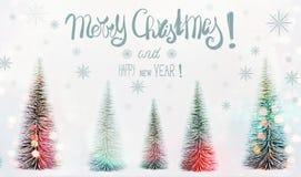 Carte de voeux de Joyeux Noël et de bonne année avec le lettrage des textes, la forêt de sapins et le bokeh de soleil photographie stock libre de droits