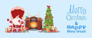 Carte de voeux de Joyeux Noël et de bonne année avec Santa Claus illustration libre de droits