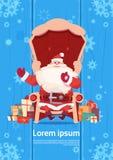 Carte de voeux de Joyeux Noël et de bonne année avec Santa Claus Photographie stock