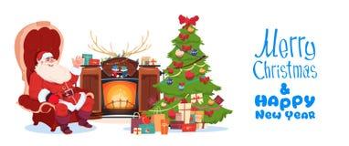 Carte de voeux de Joyeux Noël et de bonne année avec Santa Claus illustration stock