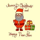Carte de voeux de Joyeux Noël et de bonne année avec Santa Claus Hand Drawn Lettering Background Images stock