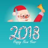 2018 carte de voeux de Joyeux Noël et de bonne année avec Santa Claus Vector Illustration de bande dessinée de vacances Photo stock