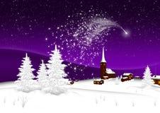 Carte de voeux - Joyeux Noël et bonne année - village - étoile filante abstraite illustration libre de droits