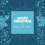 Carte de voeux de Joyeux Noël et d'an neuf heureux Image libre de droits