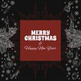 Carte de voeux de Joyeux Noël et d'an neuf heureux Image stock