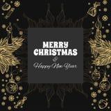 Carte de voeux de Joyeux Noël et d'an neuf heureux Photos stock