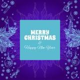Carte de voeux de Joyeux Noël et d'an neuf heureux Images libres de droits