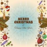 Carte de voeux de Joyeux Noël et d'an neuf heureux Photos libres de droits