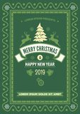 Carte de voeux de Joyeux Noël et d'an neuf heureux illustration de vecteur