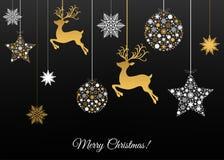 Carte de voeux de Joyeux Noël sur le fond noir illustration stock