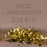 Carte de voeux de la nouvelle année 2019 Effets de scintillement et de bokeh sur le fond illustration de vecteur