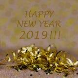 Carte de voeux de la nouvelle année 2019 Effets de scintillement et de bokeh sur le fond illustration stock