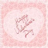 Carte de voeux, label ou autocollant avec le jour heureux du ` s de Valentine d'inscription manuscrite photo libre de droits