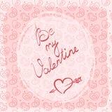 Carte de voeux, label ou autocollant de jour du ` s de Valentine avec l'inscription manuscrite image libre de droits
