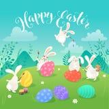 Carte de voeux de lapins de Pâques Images stock