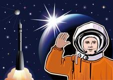 Carte de voeux le jour de la cosmonautique Photographie stock