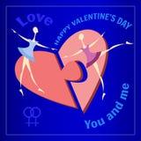 Carte de voeux lesbienne de deux filles Deux moitiés du coeur sur un fond bleu Parties du puzzle pour le jour du ` s de Valentine Photo libre de droits
