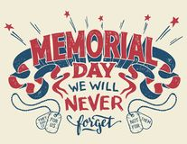 Carte de voeux de lettrage de main de Memorial Day Images stock