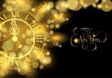 Carte de voeux de luxe de temps d'horloge de la veille de nouvelles années d'or illustration de vecteur