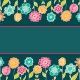 Carte de voeux mignonne de bande dessinée avec des fleurs Photo libre de droits