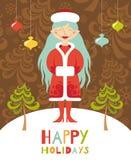 Carte de voeux mignonne. Fille de Noël avec les cheveux bleus. Photographie stock libre de droits