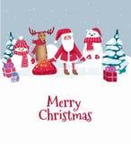 Carte de voeux mignonne de Joyeux Noël avec des caractères d'hiver Vecto illustration stock