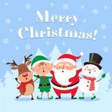 Carte de voeux mignonne de Noël Santa Claus chanteuse, le bonhomme de neige drôle et l'elfe de Noël sur la neige d'hiver font la  illustration stock