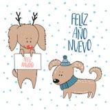 Carte de voeux mignonne de vacances d'hiver de chiens illustration stock