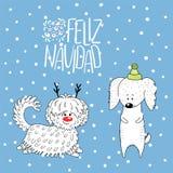 Carte de voeux mignonne de vacances d'hiver de chiens illustration de vecteur