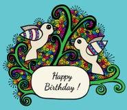 Carte de voeux multicolore de joyeux anniversaire avec l'oiseau deux Image libre de droits