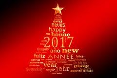 carte de voeux multilingue de nuage de mot des textes de la nouvelle année 2017, forme d'un arbre de Noël Images stock