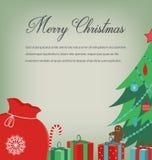 Carte de voeux de Noël avec des souhaits de Joyeux Noël Vecteur Photo stock