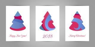 Carte de voeux de Noël avec l'arbre abstrait minimalistic de nouvelle année avec la texture abstraite onduleuse colorée sur le fo Photographie stock