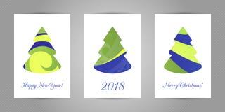 Carte de voeux de Noël avec l'arbre abstrait minimalistic de nouvelle année avec la texture abstraite onduleuse colorée sur le fo Photo libre de droits
