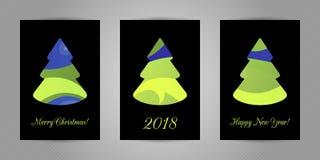 Carte de voeux de Noël avec l'arbre abstrait minimalistic de nouvelle année avec la texture abstraite onduleuse colorée sur le fo Photos stock