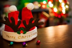 Carte de voeux de Noël avec le chapeau de Santa image stock