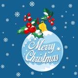 Carte de voeux de Noël avec le fond de flocon de neige et la boule de Noël photographie stock libre de droits