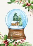 Carte de voeux de Noël avec le globe de neige, la maison, les pins et le lettrage calligraphique illustration libre de droits