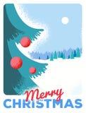 Carte de voeux de Noël avec le sapin, rétro dénommé avec le papier rayé illustration stock
