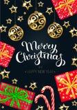 Carte de voeux de Noël et d'an neuf illustration de vecteur