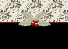 Carte de voeux noire de vacances de houx et de baies Photo stock