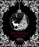 Carte de voeux noire et blanche de vintage pour des vacances de nouvelles années et de Noël avec la vignette florale de vintage e Photo stock
