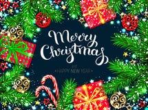 Carte de voeux de nouvelle année de Noël illustration stock