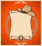 Carte de voeux occidentale de nouvelle année avec le rouleau Photographie stock