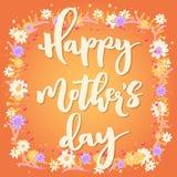 Carte de voeux orange heureuse du jour de mère Image libre de droits