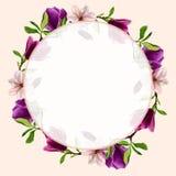 Carte de voeux originale avec des fleurs de magnolia watercolor Pour la conception de vos invitations au mariage Images stock