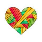 Carte de voeux ornementale du ` s de StValentine avec le croquis floral de coeur de zentangle coloré Illustration de coeur de vec Image stock
